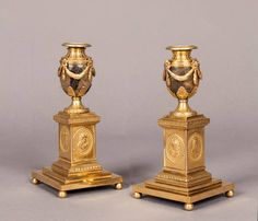 18th Century English Pair of Blue John Stone and Ormolu Candle Stick Vases 1770