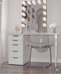 awesome teen girl bedroom ideas that are fun and cool 00063 - Marissa Glam room - Bedroom Decor Diy Makeup Vanity, Makeup Vanities, Ikea Makeup, Makeup Drawer, Vanity Room, Teen Vanity, Small Vanity, White Vanity, Vanity Decor