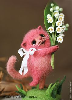 Needle felted red cat by Diana Latysheva from Russia - SO CUTE!