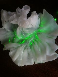 Laser light diffused by InstaMorph moldable plastic ribbon.