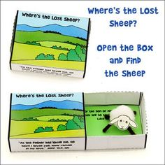 "Lost Sheep Bible Craft - ""Where's the Lost Sheep?"" Match box Craft from www.daniellesplace.com"