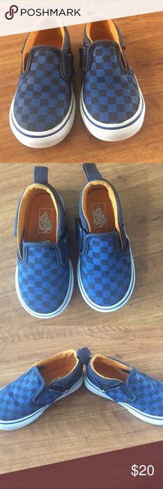 Cute toddler vans Blue checkered vans. Have a side Velcro for easy on and off. Great used condition. Size 6 Vans Shoes Sneakers