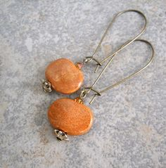 Kazuri Ceramic and Crystal Earrings Rust by ChelseaGirlDesigns