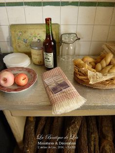 Kitchen towel, Red and ecru,  French vintage country, Accessory for French dollhouse in 1:12th scale