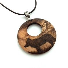 Dog in the Mountains Wooden Pyrography Pendant Necklace £17.95