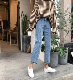 Jeans Woman High Waist Loose Buttons Korean Style Wide Leg Trousers Students Causal High Quality Ripped Denim Female Jean Simple Source by nadjareichel outfits Look Fashion, Korean Fashion, Fashion Models, Fashion Outfits, Fashion Pants, Swag Fashion, Fashion Sandals, 50 Fashion, Curvy Fashion