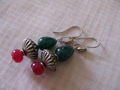 Gem stone jade ruby earrings with German silver by Chitrasjewelart, $18.00