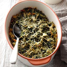 Herbed Baked Spinach - Taste of Home Veggie Dishes, Vegetable Recipes, Vegetable Sides, Side Dish Recipes, Side Dishes, Easy Recipes, Main Dishes, Frozen Spinach Recipes, Recipes