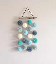 Pom Pom Hanging, Small Driftwood Garland, Nursery Decor, CUSTOM - Pompoms Best Picture For nature crafts For Your Taste You are looking for something, and it is go - Pom Pom Crafts, Yarn Crafts, Diy And Crafts, Crafts For Kids, Arts And Crafts, Pom Pom Diy, Kids Diy, Cute Crafts, Preschool Crafts