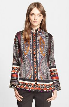 Etro Paisley Silk Organza Blouse available at #Nordstrom