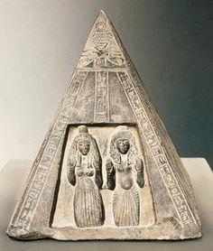 The overseer Chonshotep and his wife Tipi. Pyramidion, West Thebes, c. 1200 BC, 19th dynasty. Louvre, Paris, France.