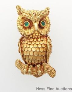 Huge 18k Gold 1970 Kurt Wayne Signed Owl Emerald Eyes Brooch Pin #KurtWayne