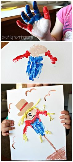 Handprint scarecrow craft #fall craft for kids | CraftyMorning.com