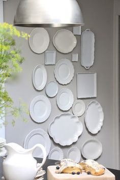 My Sweet Savannah: ~fall farmhouse kitchen & scone recipe~ White Dishes, White Plates, Beautiful Houses Interior, Plate Racks, Plate Display, Glass Dishes, Plates On Wall, Decor Styles, Kitchen Decor