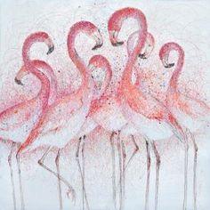 Trendykunst presenteert dit prachtige schilderij van flamingo's.  Olieverf schilderijen zijn met de hand geschilderd op doek.