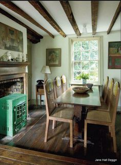 1920's English cottage of Leonard and Virginia Wolfe of the Bloomsbury Group from World of Interiors