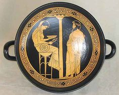 Oracle of Delphi Greek Vase 450 b.C.  (made from terracotta, multicolor finish). This lovely kylix shows the oracle of Delphi reading the signs and portents for Aegeas. The Oracle went by the name of Pythia, as she was embodiment of the Pythian cult, based on the snake Python, son of Mother Earth.