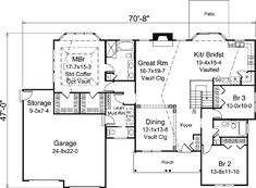 First Floor Plan of Country   Ranch   Traditional   House Plan 95909