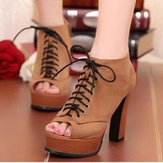 Buy 'Mancienne – Peep-Toe Chunky-Heel Shoe Boots' with Free International Shipping at YesStyle.com. Browse and shop for thousands of Asian fashion items from China and more!