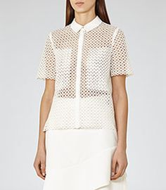 Lily Off White Lace Short-sleeved Shirt - REISS
