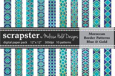 Moroccan Border Patterns Blue & Gold by Melissa Held Designs on @creativemarket