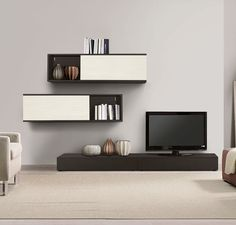 Living Room, Simple Contemporary Wall Cabinets Also Tv Unit Plus White  Floor Lamp And Area Rug With Armchair In Living Room Design Decoration: Modern  Living ...