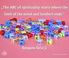 """The ABC of spirituality starts where the limit of the mind and intellect ends."" 