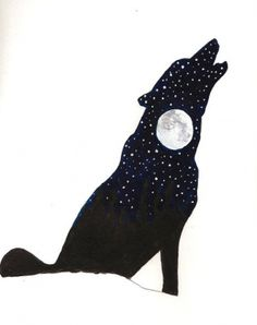 Howling Wolf Silhouette Watercolor Painting