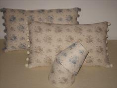Cushions and candle shades in beautiful Sarah Hardaker linens
