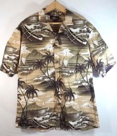 Royal Creations Hawaiian Camp Shirt L Tiki Gods Palm Trees Boats Cotton #RoyalCreations #Hawaiian