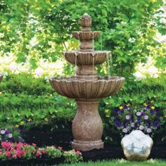 With a cascade of basins reaching 4 ft. high, our Mirabella Fountain provides a peaceful destination for garden-side reflection and a focal point in    your garden. Crafted of 100% cast stone, the classically shaped fountain features two tiers rising from the wide scalloped base.            Water flows from a flower-shaped bubbler top and trickles over two tiers via rolled spouts                100% cast stone construction with a Classic Iron stain                Frontgate exclusive     ...
