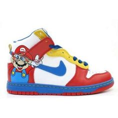 Buy Nike Dunks Super Mario High Tops Shoes White Red Adults For Sale. My kids is gonna flip! Great b-day gift! Red Sneakers, Sneakers Nike, Custom Sneakers, Ladies Sneakers, Super Mario, Mario Nintendo, Mario Bros, Nike Jordan 12, Cartoon Shoes