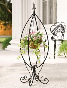 Fleur-de-lis Hanging Basket Stand. So pretty and only $17.