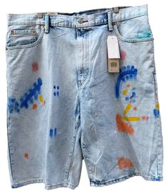f63abfb396 Levi's Men's #569 Loose #StraightFit Paint #Splattered Blue Denim Shorts 40  NEW #