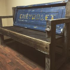 Barn wood Chevy bench