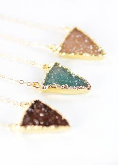 Nalukea necklace gold druzy triangle pendant by kealohajewelry
