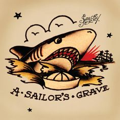 """Norman """"Sailor Jerry"""" Collins :: Watch Quint in Jaws and you can get some idea of Sailor Jerry's attitude toward sharks — inhuman with a relentless ferocity that's impossible not to be awed by. Unlike Jerry's panthers, snakes, and other animals, his sharks seem less about embodying traits possessed by the person tattooed and more about forces that must be withstood and overcome. In this way, they become a special symbol of courage and will."""