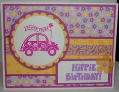 Groovy-circle and scallop punches, dp, sheer swirly ribbon, versamark stamped background on So Saffron cardstock.  Lavender Lace & Marvelous Magenta ink
