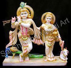 Indian Marble God Statues Manufactures from Sai Shradha Moorti Art In Jaipur Krishna Statue, Krishna Art, Lord Krishna, Shri Ganesh, Marble Painting, Marble Art, White Marble, Angel Statues, Buddha Statues