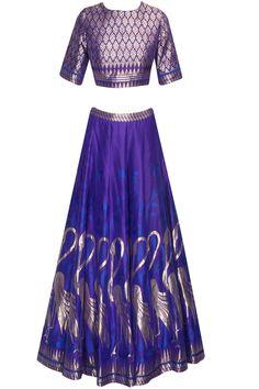 Ink blue banarasi hand woven work lehenga set at Pernia's Pop Up Shop.#perniaspopupshop #shopnow #newcollection #festive #clothing #designer #anitadongre #bridal