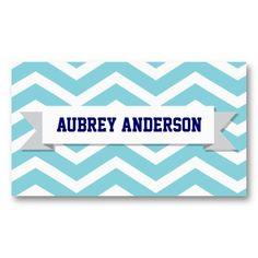 Chevron Blue Custom Flag Business Card