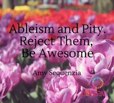 """Photograph of close up of pink flowers , orange and yellow flowers in background out of focus .Text reads """"Ableism and Pity. Reject Them, Be Awesome"""" Amy Sequenzia on Ollibean"""