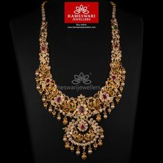 Buy Necklaces Online | Bridal U-Haram With CZ Pachi and Ruby's from Kameswari Jewellers