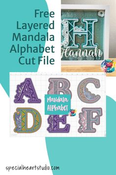 Free Layered Mandala Letters SVG Cut File.  Perfect to make gifts of Shadow Boxes that can be personalized!  Instant download for use with your Cricut or Silhouette. #freecutfile #freesvg #layeredmandala Cricut Svg Files Free, Free Svg Cut Files, H Alphabet, Christmas Craft Projects, Svg Cuts, Deco, School Projects, Cutting Files, Free Design