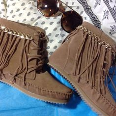 Bamboo fringe moccasins sz 5.5 NIB Bamboo fringe moccasins sz 5.5 NIB. Vegan. Color: Camel bamboo Shoes Ankle Boots & Booties