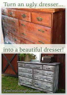 Painted Driftwood Dresser - Farm Fresh Vintage Finds