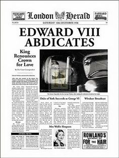 On this day 11th December 1935 Edward VIII after ruling for less than a year he became the first English monarch to voluntarily abdicate the throne. Edward planned to may divorcee Mrs Wallis Simpson and before he left for France, he made a find radio broadcast to the nation. He was succeeded by his brother George who became George VI