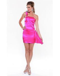 One Shoulder Pleats Crystal Brooch Column Cocktail Dress
