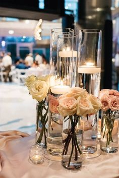 chic simple roses candle wedding centerpiece idea