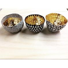 Good things come in threes! #porcelain #gold #bowls #justoutofthekiln #sigh @loveadorned